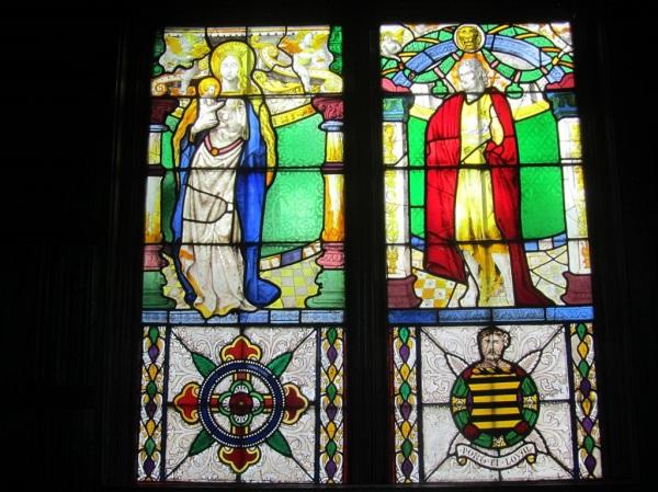 Stained glass window, Ightham Mote, Kent, England.
