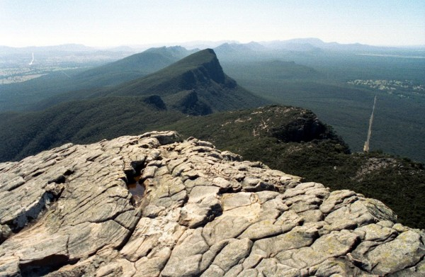 To celebrate Australia's victory over Wales in the Rugby World Cup, the Grampians, Victoria, from the summit of Mount Williams. April 2003.