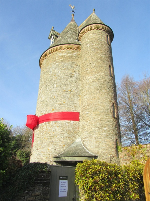 The former water tower, dressed for Xmas, Trelissick Garden, Truro, England, Dec 2012