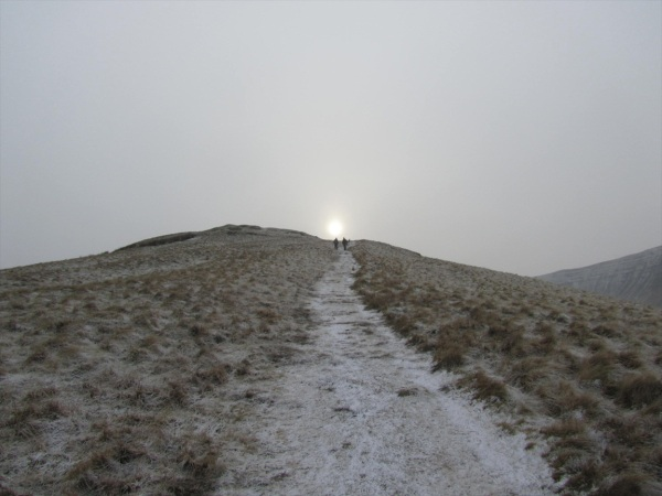 Heading into the setting sun - Brecon Beacons, Wales, January 2013