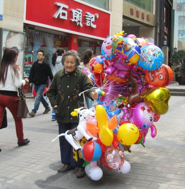 Balloon seller, Chongqing, China, March 2013