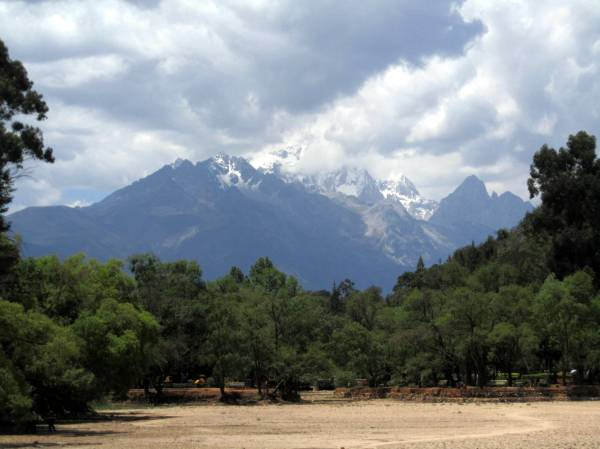 Yulong Jade Dragon Mountain from Black Dragon Park, Lijiang, China.