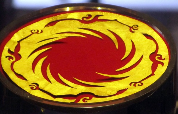 Sun and Immortal Bird disc gold ornament. In ancient legends a bird carried the sun from East to West each day.   Jinsha Site Museum, Chengdu, China
