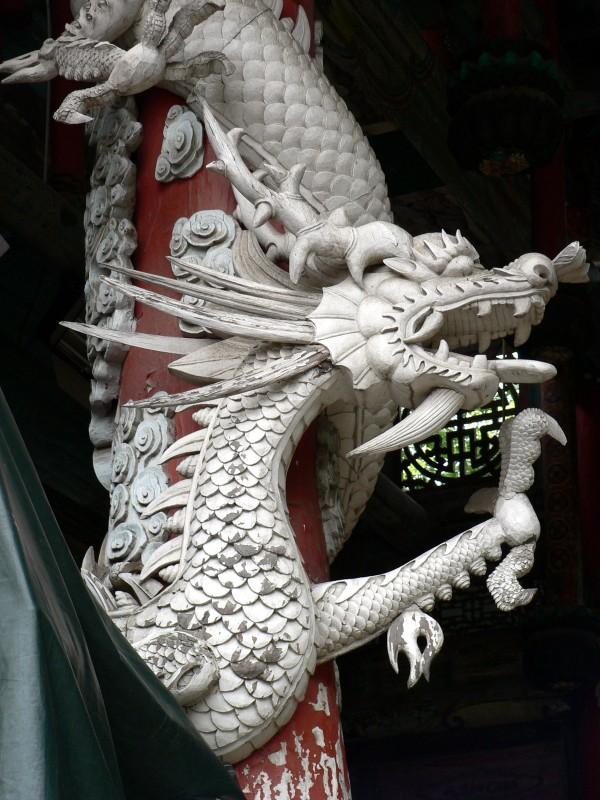 Carved stone dragon, Tuija Village, Changsha, Hunan Province China, July 2009