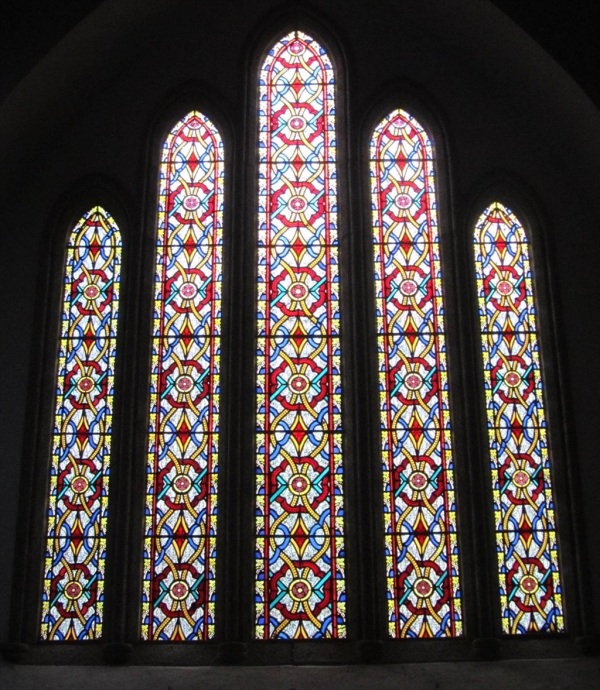 Stained Glass Window, St Anthony in Meneage, Cornwall England, December 2012