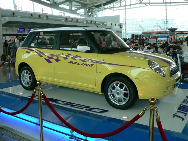 China's Lifan 320 - a BMW Mini Look-alike and amazing design coincidence. At Chongqing airport July 2009