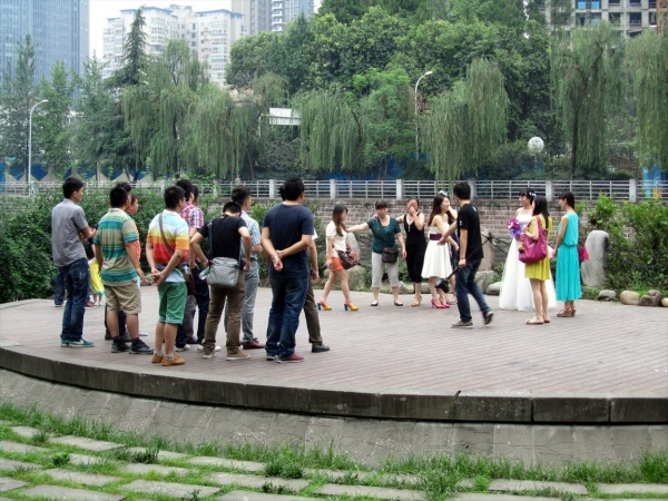 Wedding Practice on the Yangtse embankment, Chengdu, China. June 2013