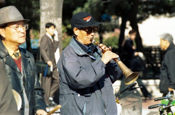 Morning exercise to music at the Military museum, Beijing, October 2002