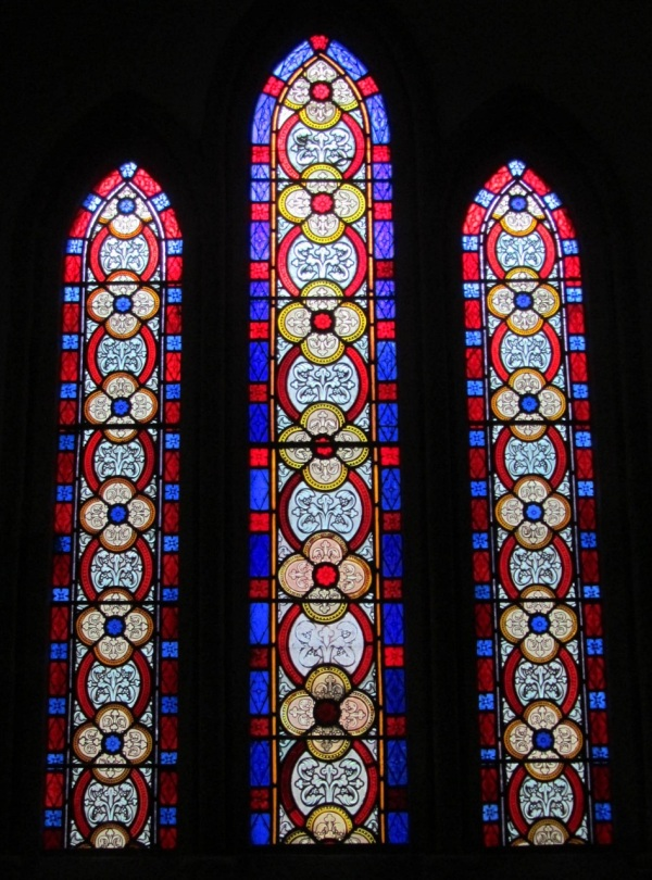 Stained glass window, St Anthony-in-Meneage parish church, Cornwall, England, Dec 2012