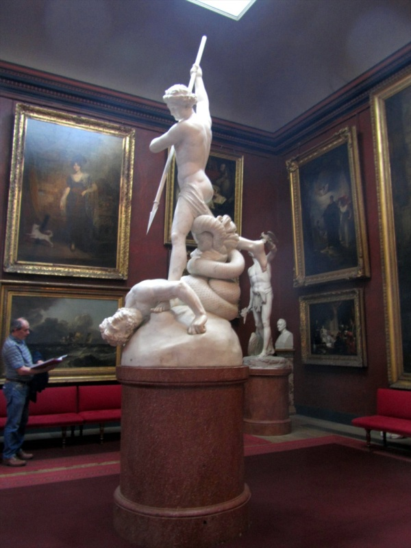 Flaxman's St Michael subduing Satan, the North Gallery, Petworth House, West Sussex, England, May 2005