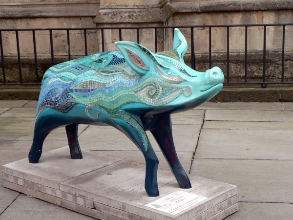 Pig, part of a city wide sculpture exhibition, Bath, England, August 2008